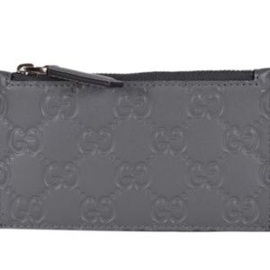 NWT Gucci Grey Leather GG Guccissima Wallet 435366